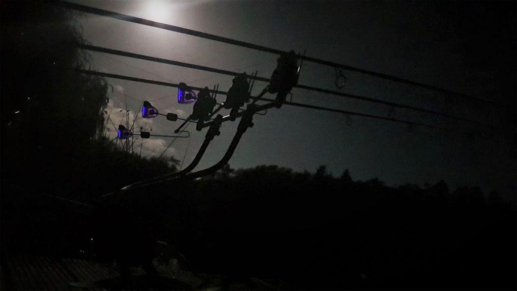 Karpfen RodPod bei Nacht